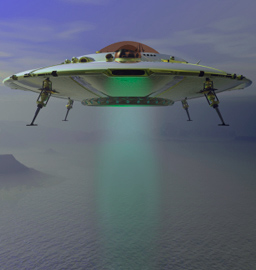 ufo with powerful light beam