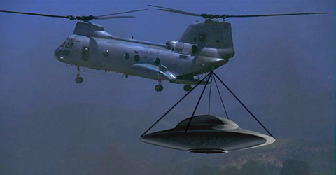 helicopter transporting a ufo